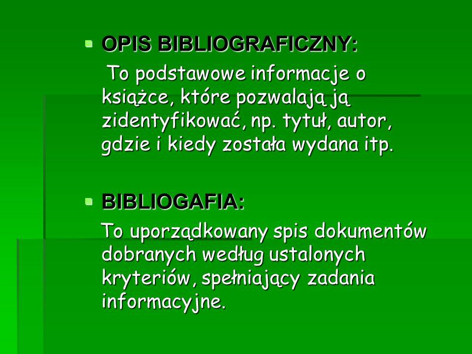 OPIS BIBLIOGRAFICZNY: