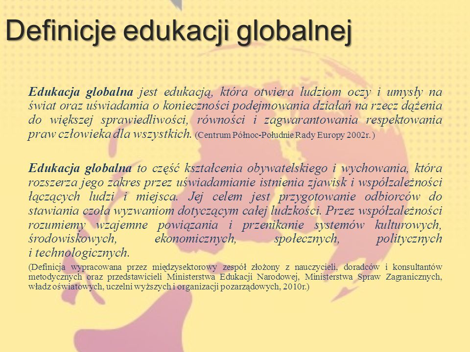 Definicje edukacji globalnej
