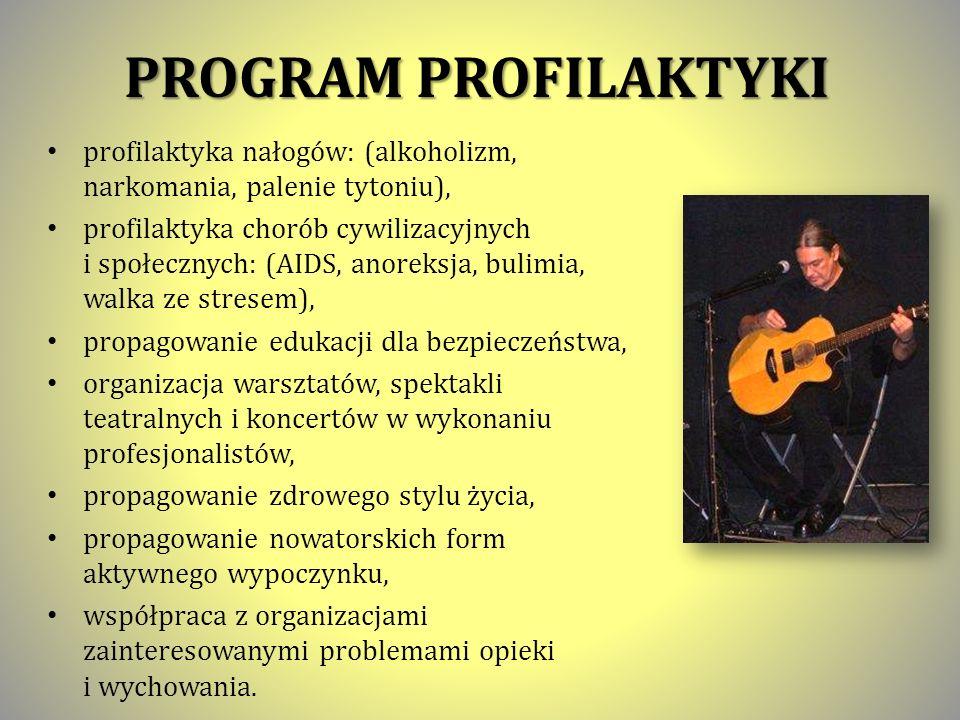 PROGRAM PROFILAKTYKI profilaktyka nałogów: (alkoholizm, narkomania, palenie tytoniu),