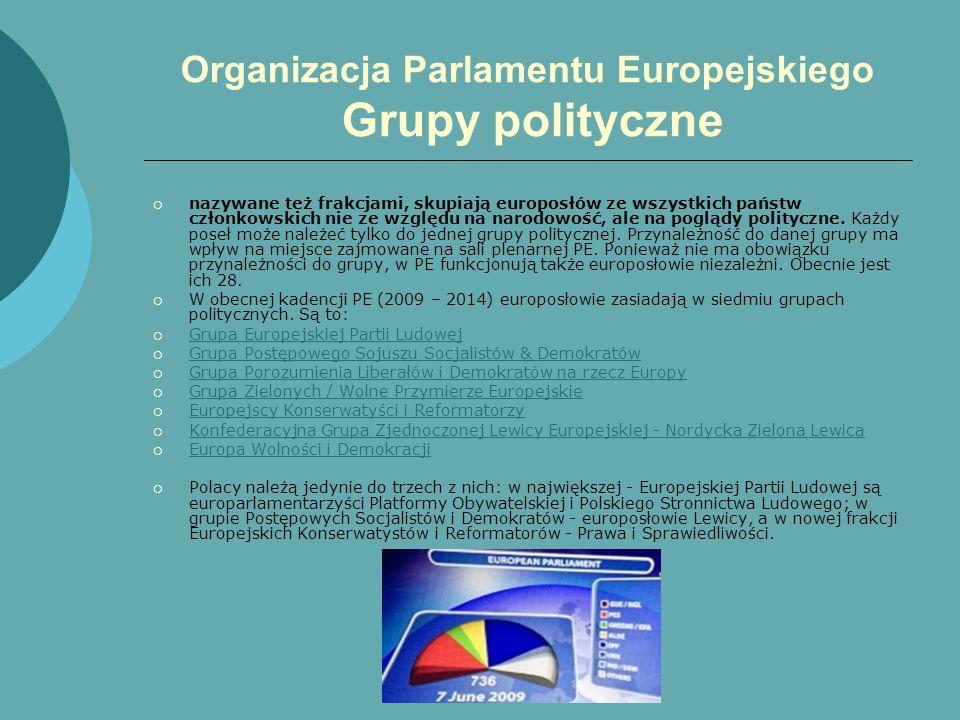 Organizacja Parlamentu Europejskiego Grupy polityczne