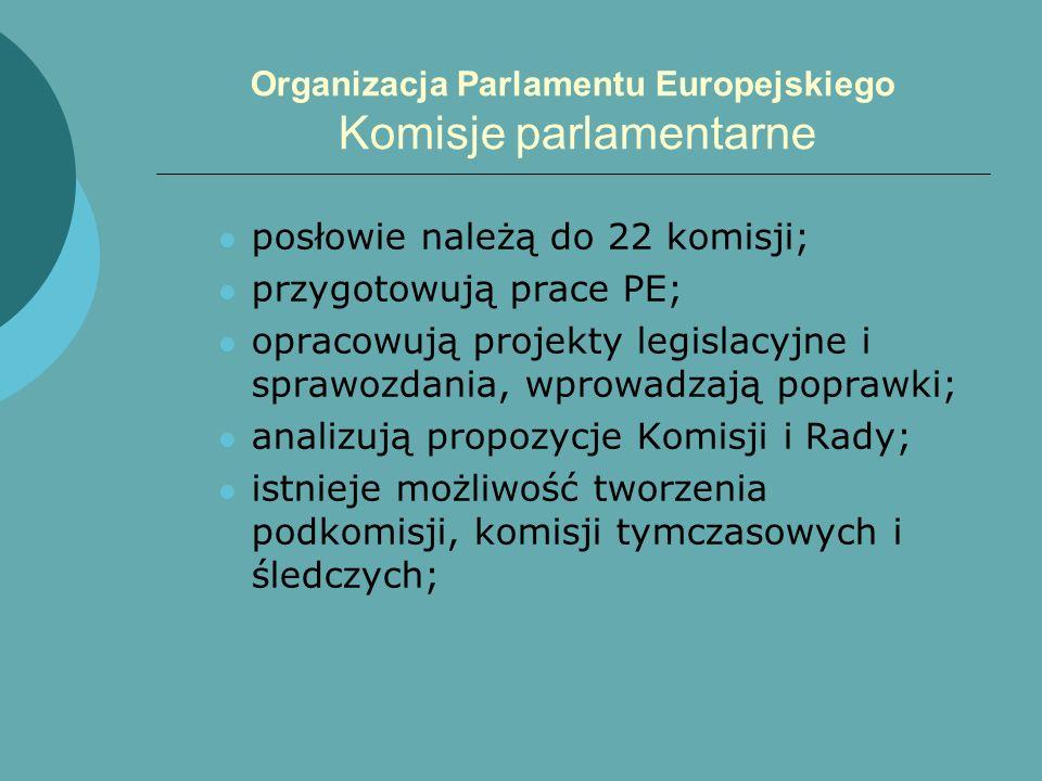 Organizacja Parlamentu Europejskiego Komisje parlamentarne