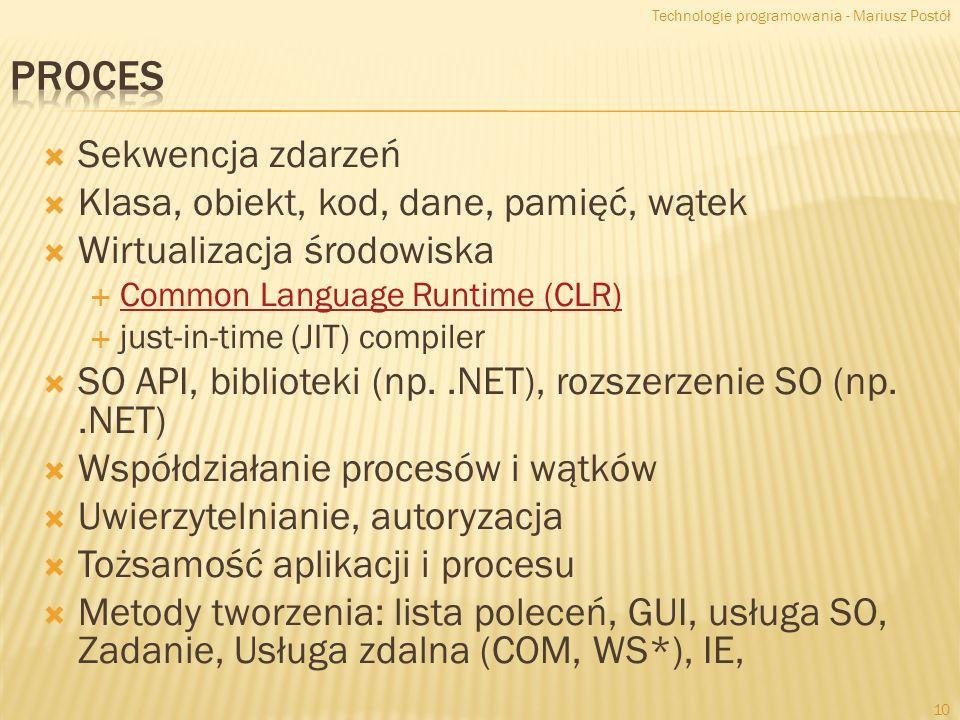 Proces Sekwencja zdarzeń Klasa, obiekt, kod, dane, pamięć, wątek
