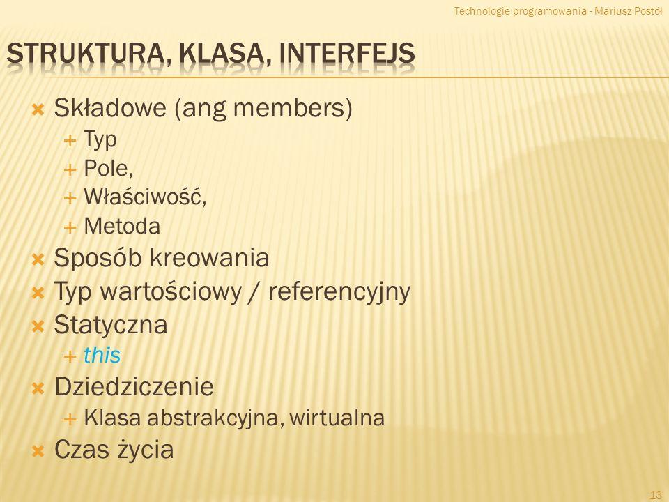 Struktura, Klasa, Interfejs