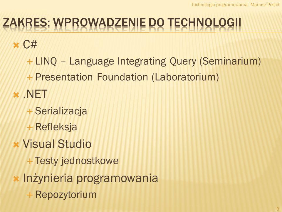 Zakres: Wprowadzenie do technologii