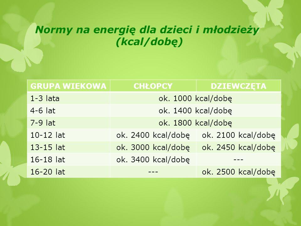 Normy na energię dla dzieci i młodzieży (kcal/dobę)