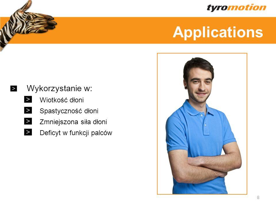 Applications Wykorzystanie w: Wiotkość dłoni Spastyczność dłoni