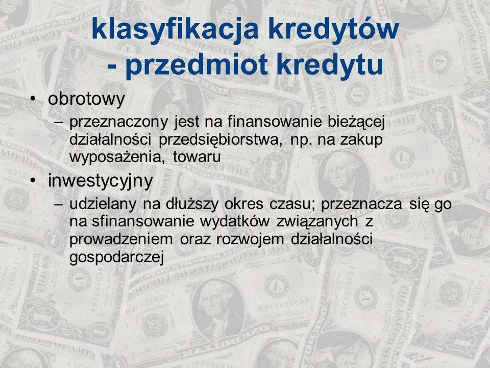 klasyfikacja kredytów - przedmiot kredytu