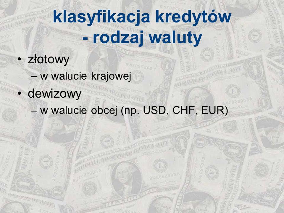 klasyfikacja kredytów - rodzaj waluty