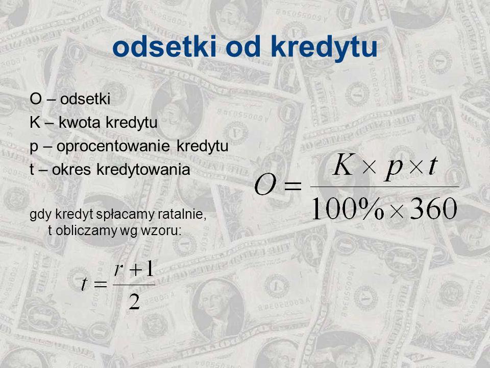 odsetki od kredytu O – odsetki K – kwota kredytu