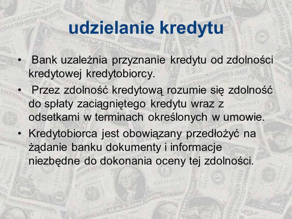 udzielanie kredytu Bank uzależnia przyznanie kredytu od zdolności kredytowej kredytobiorcy.