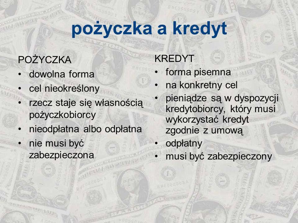 pożyczka a kredyt POŻYCZKA dowolna forma cel nieokreślony