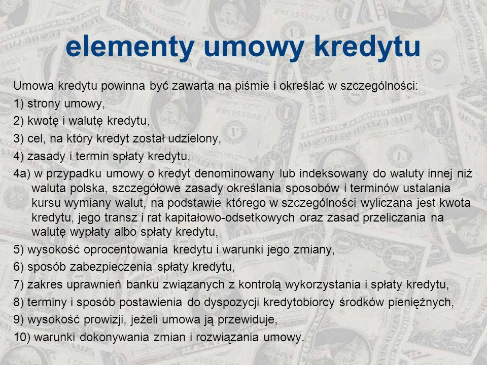 elementy umowy kredytu
