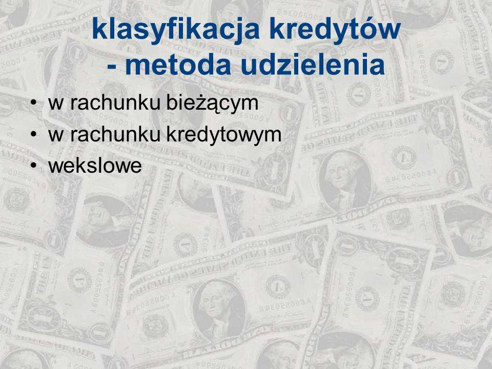 klasyfikacja kredytów - metoda udzielenia