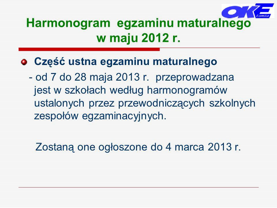 Harmonogram egzaminu maturalnego w maju 2012 r.