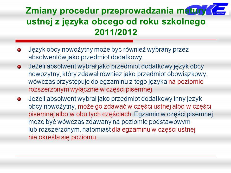 Zmiany procedur przeprowadzania matury ustnej z języka obcego od roku szkolnego 2011/2012