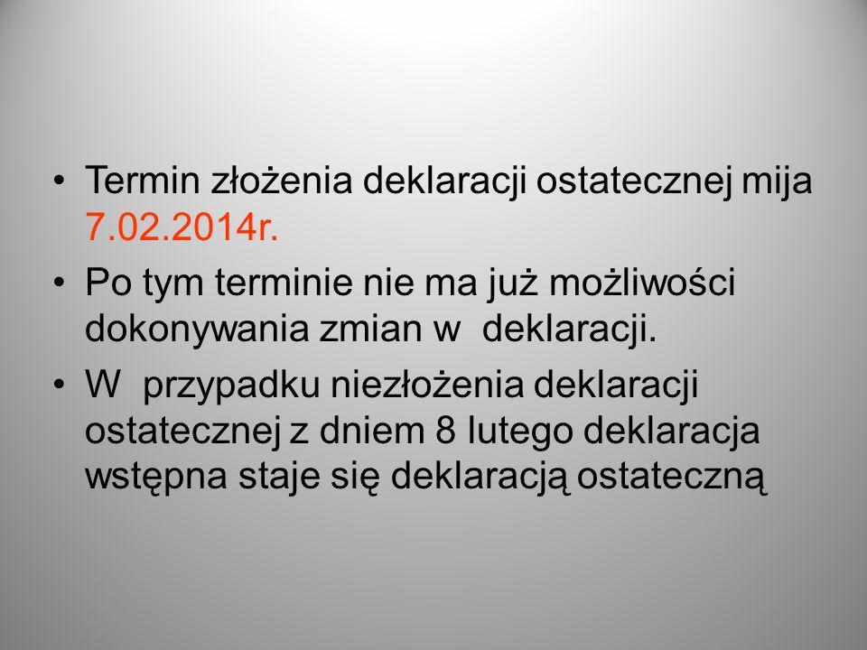 Termin złożenia deklaracji ostatecznej mija 7.02.2014r.