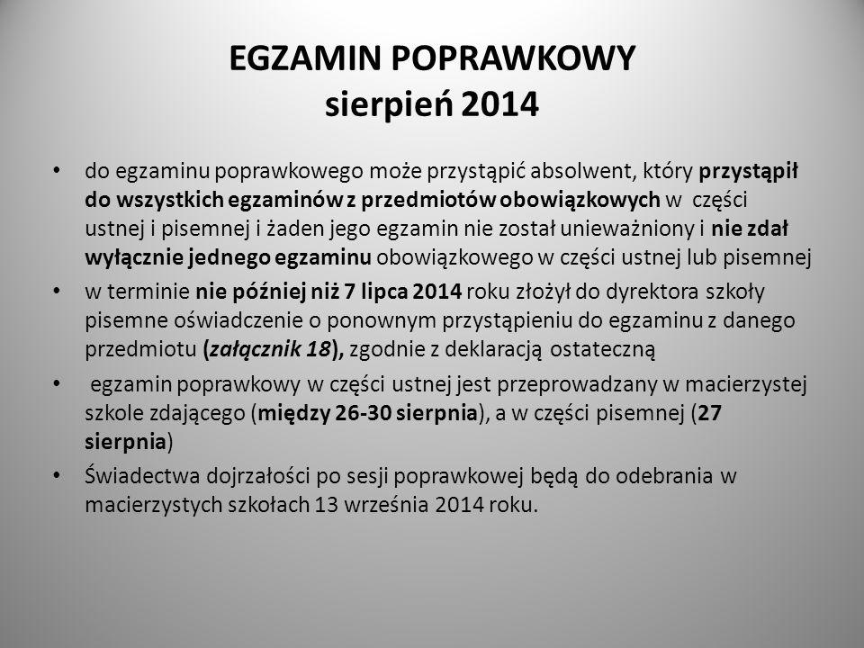 EGZAMIN POPRAWKOWY sierpień 2014