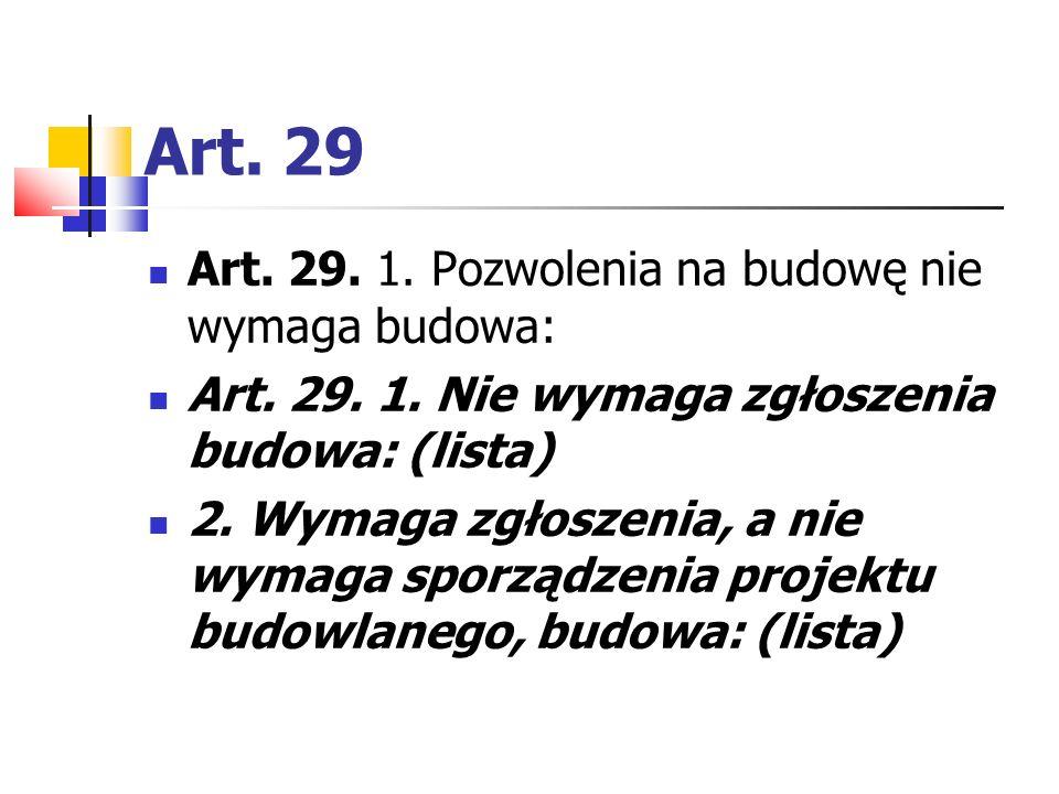 Art. 29 Art. 29. 1. Pozwolenia na budowę nie wymaga budowa: