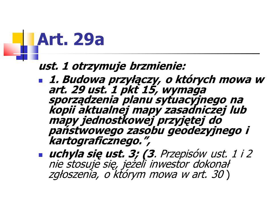 Art. 29a ust. 1 otrzymuje brzmienie:
