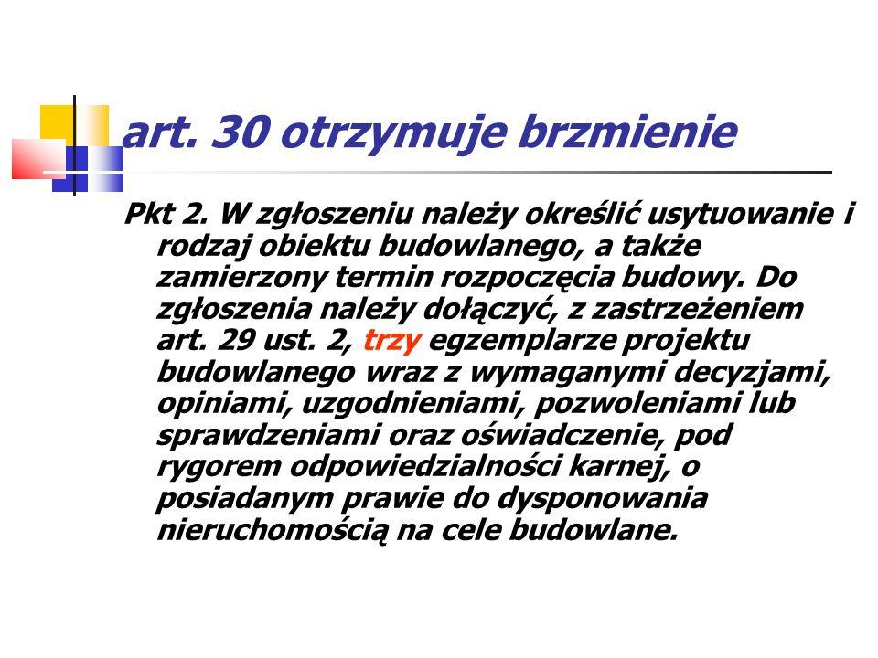 art. 30 otrzymuje brzmienie