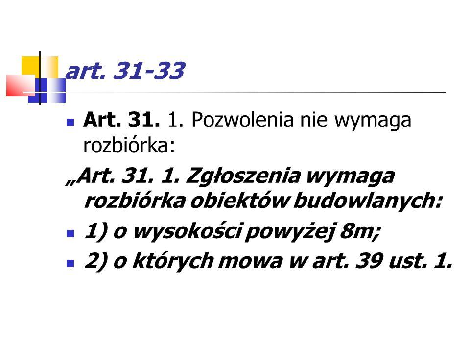 art. 31-33 Art. 31. 1. Pozwolenia nie wymaga rozbiórka: