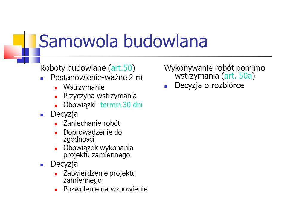 Samowola budowlana Roboty budowlane (art.50) Postanowienie-ważne 2 m