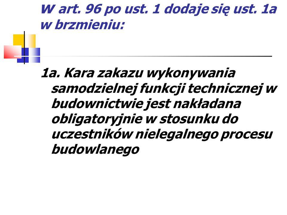 w art. 96 po ust. 1 dodaje się ust. 1a w brzmieniu: