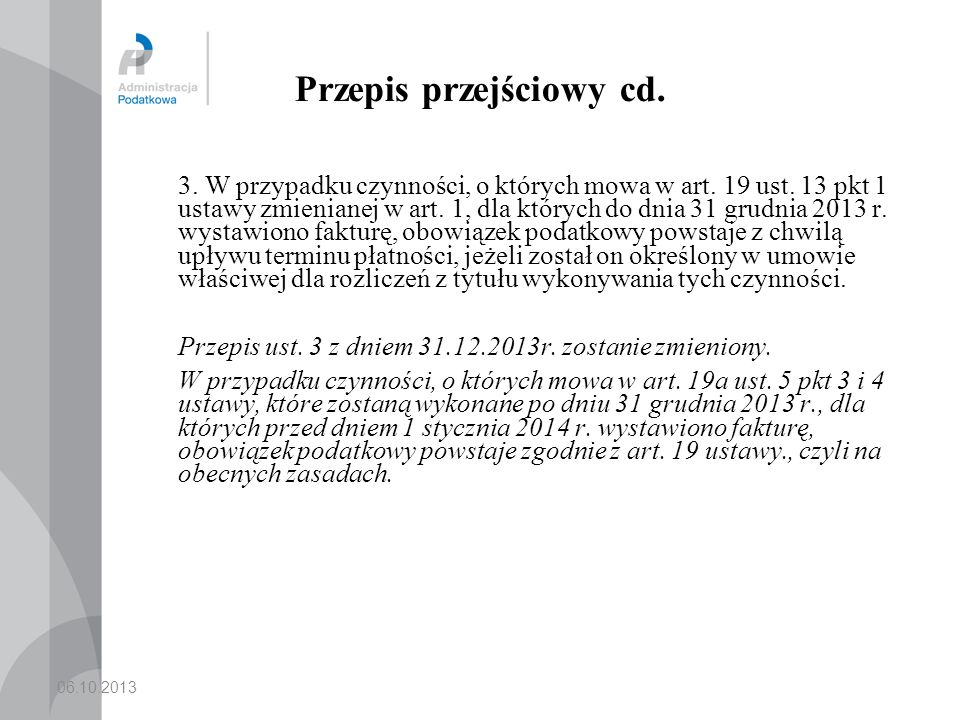 Przepis przejściowy cd.