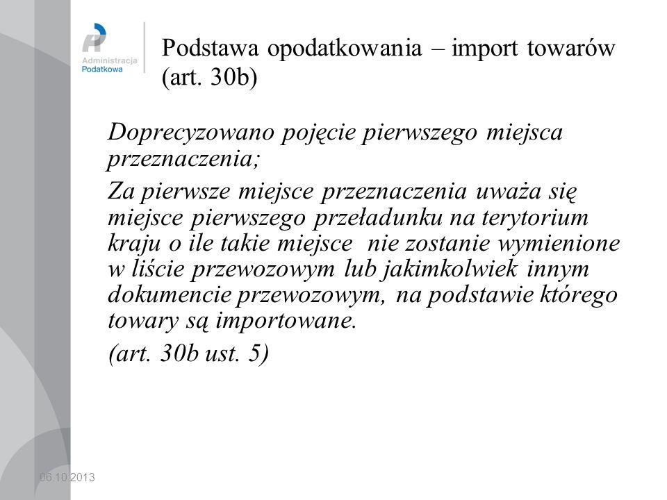 Podstawa opodatkowania – import towarów (art. 30b)