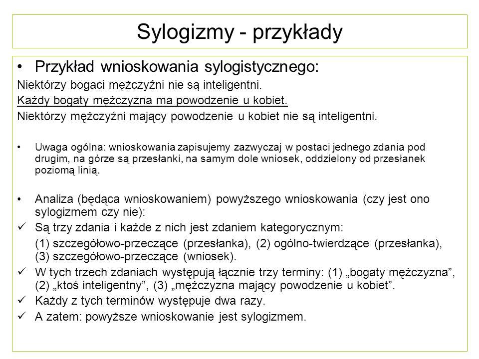 Sylogizmy - przykłady Przykład wnioskowania sylogistycznego: