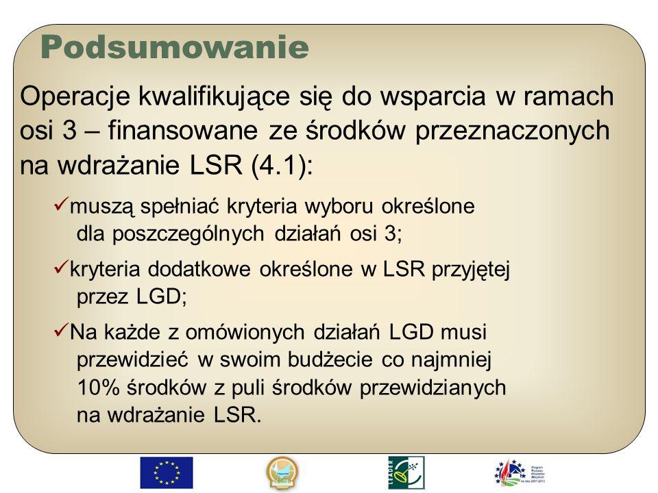 Podsumowanie Operacje kwalifikujące się do wsparcia w ramach osi 3 – finansowane ze środków przeznaczonych na wdrażanie LSR (4.1):