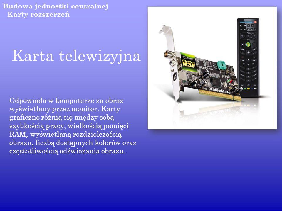 Karta telewizyjna Budowa jednostki centralnej Karty rozszerzeń