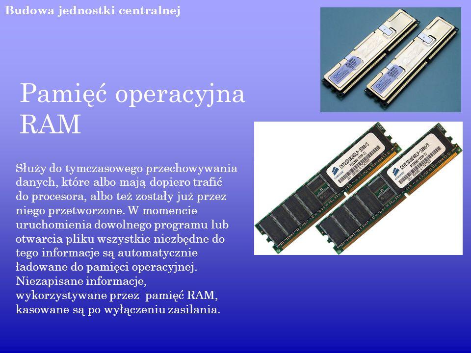 Pamięć operacyjna RAM Budowa jednostki centralnej