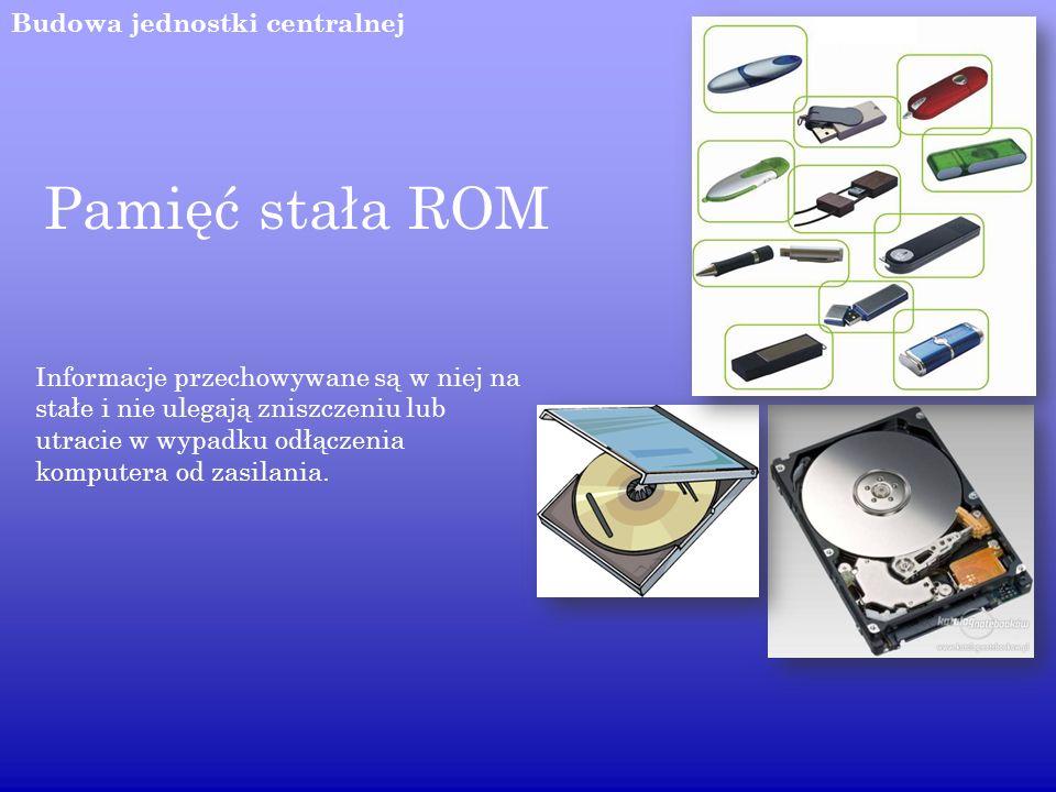 Pamięć stała ROM Budowa jednostki centralnej