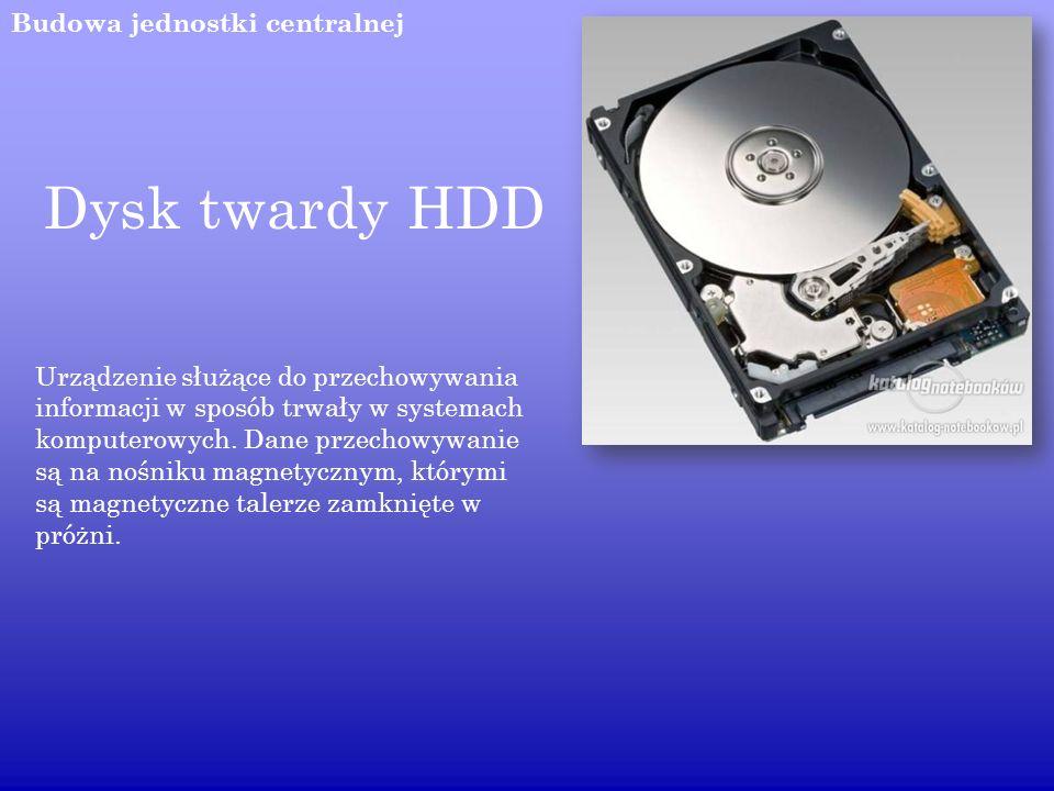 Dysk twardy HDD Budowa jednostki centralnej