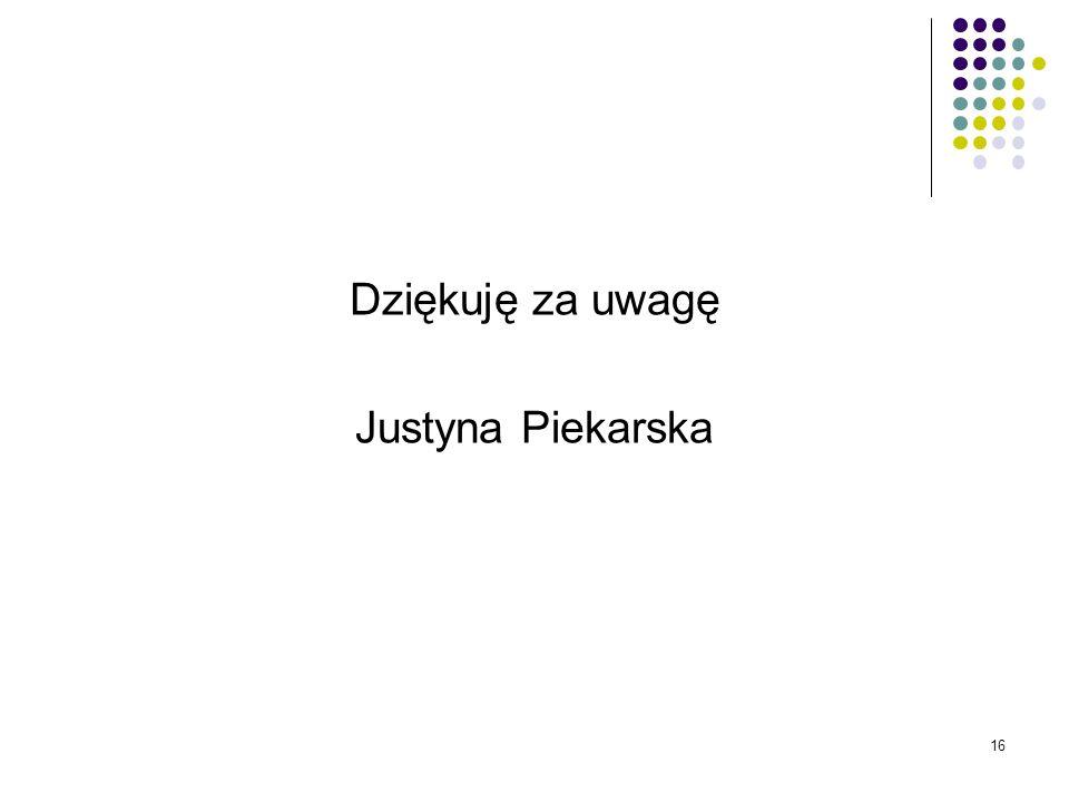 Dziękuję za uwagę Justyna Piekarska