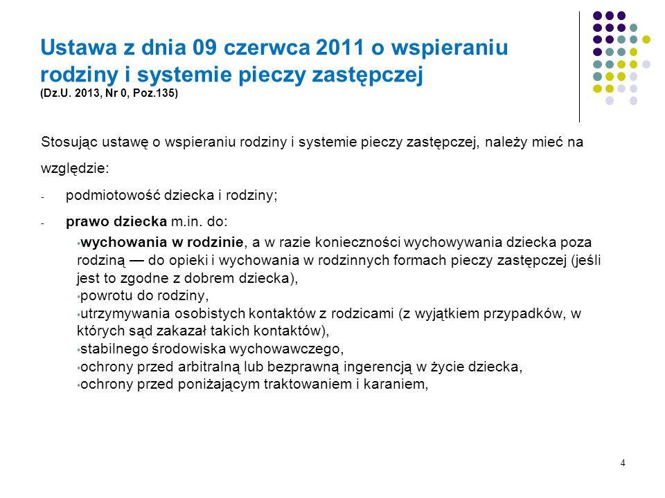Ustawa z dnia 09 czerwca 2011 o wspieraniu rodziny i systemie pieczy zastępczej (Dz.U. 2013, Nr 0, Poz.135)