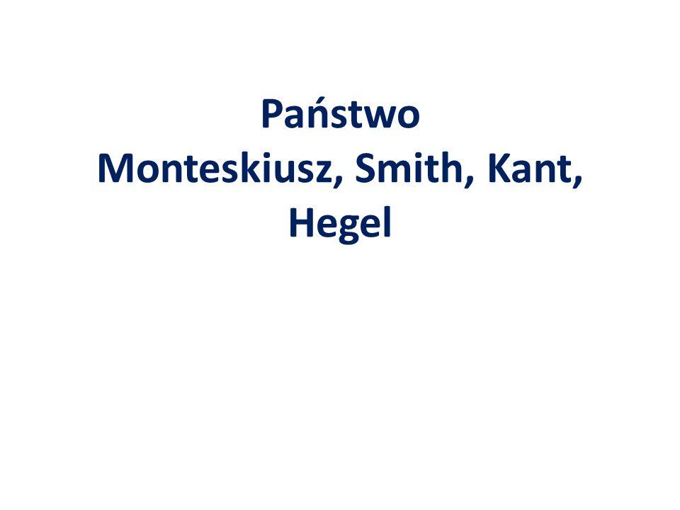 Państwo Monteskiusz, Smith, Kant, Hegel