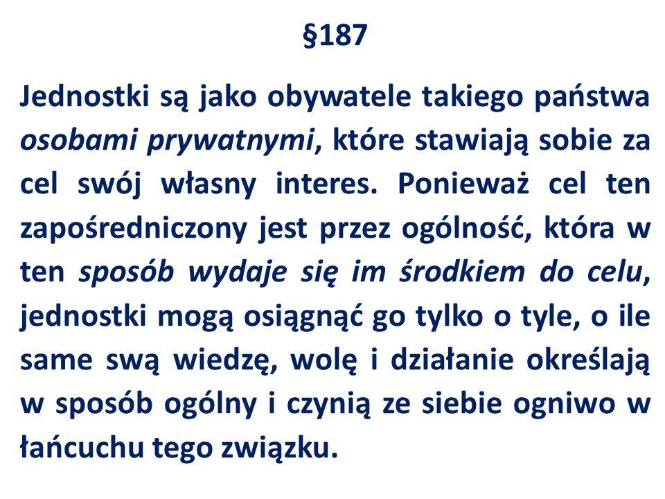 §187 Jednostki są jako obywatele takiego państwa osobami prywatnymi, które stawiają sobie za cel swój własny interes.