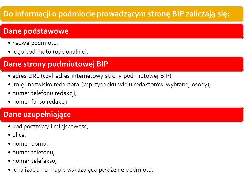 Do informacji o podmiocie prowadzącym stronę BIP zaliczają się:
