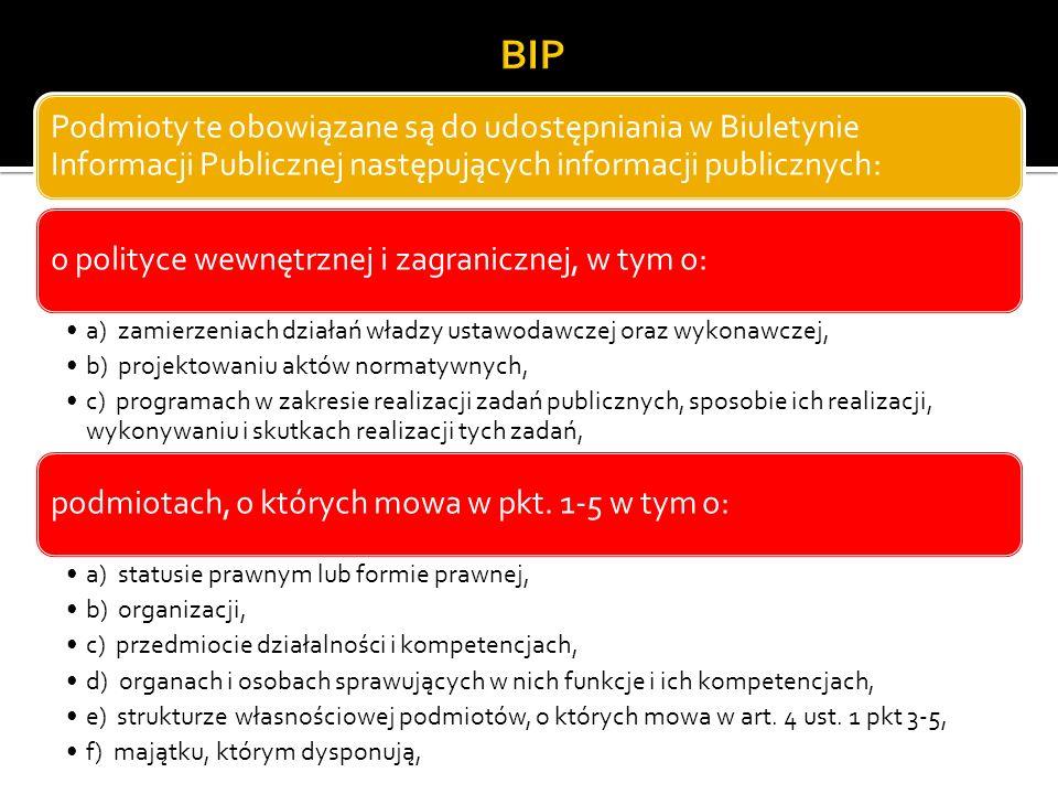 BIP Podmioty te obowiązane są do udostępniania w Biuletynie Informacji Publicznej następujących informacji publicznych:
