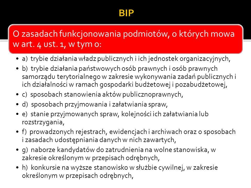 BIP O zasadach funkcjonowania podmiotów, o których mowa w art. 4 ust. 1, w tym o: