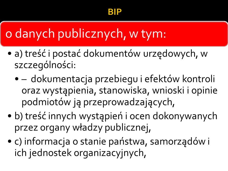 o danych publicznych, w tym: