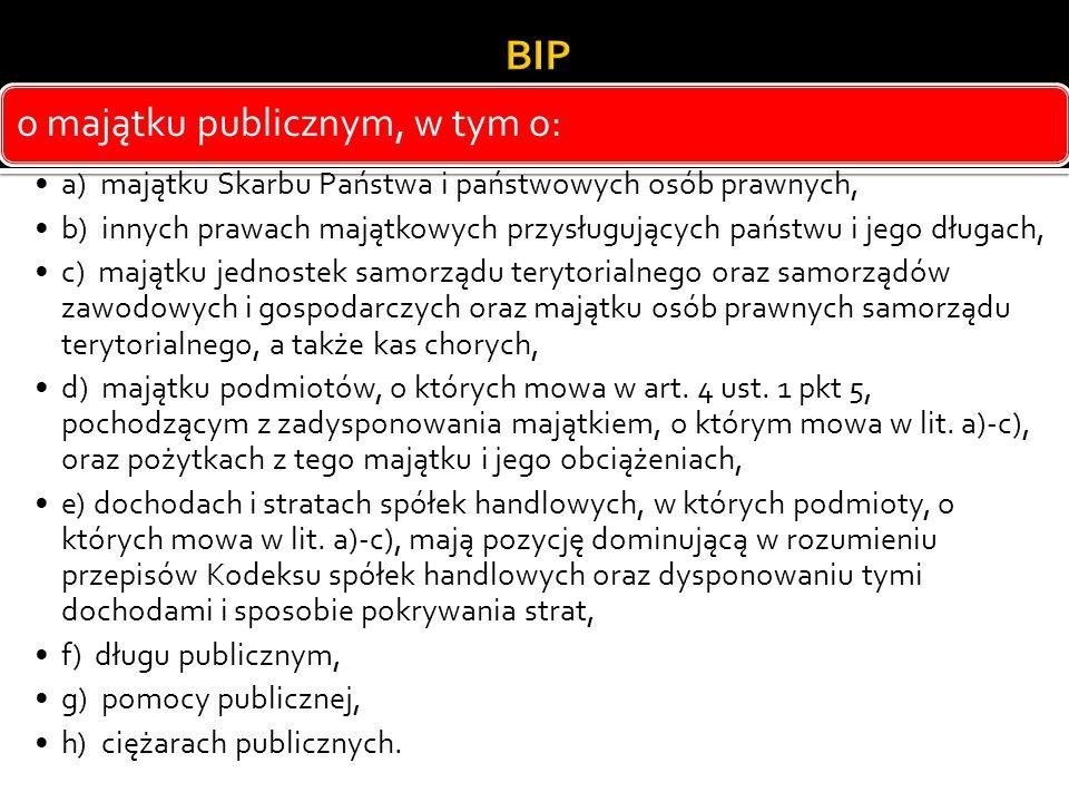 BIP o majątku publicznym, w tym o: