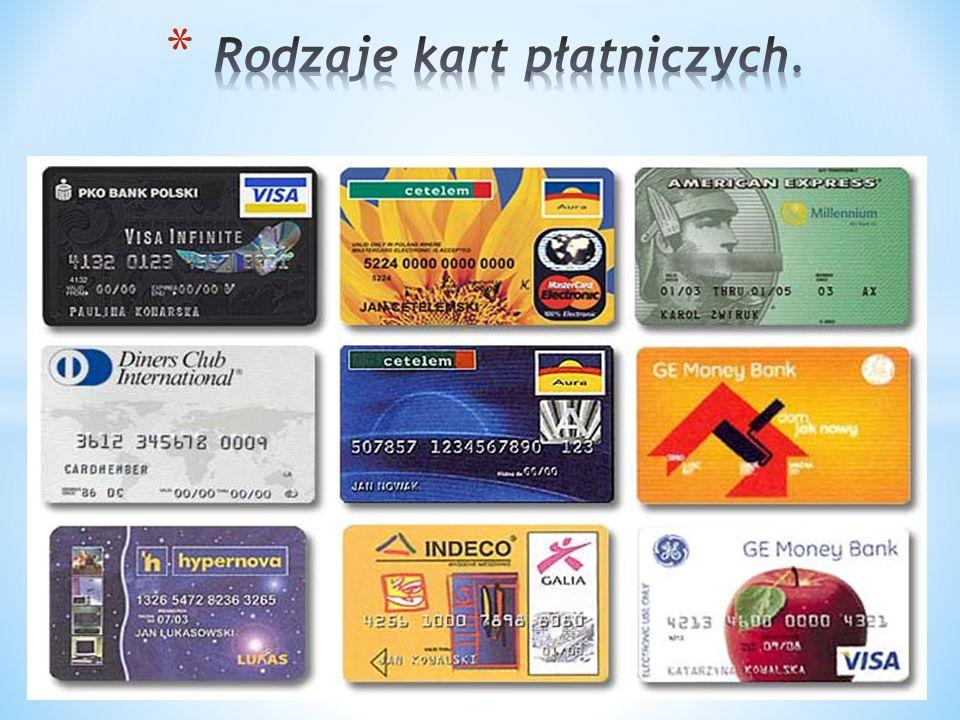 Rodzaje kart płatniczych.