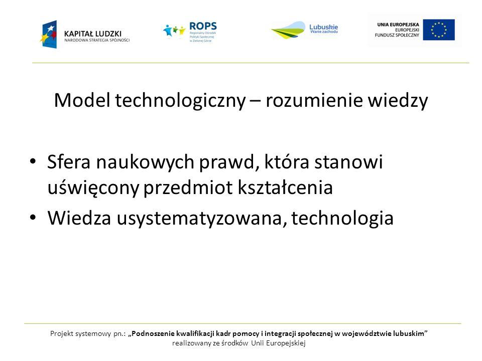 Model technologiczny – rozumienie wiedzy