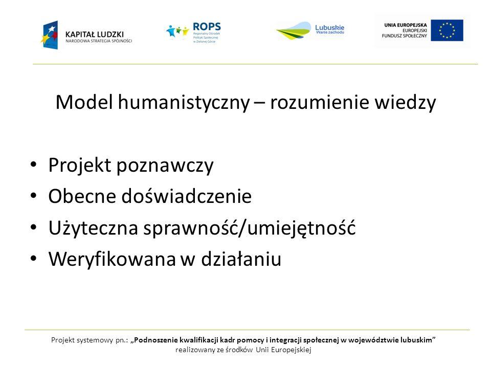 Model humanistyczny – rozumienie wiedzy Projekt poznawczy