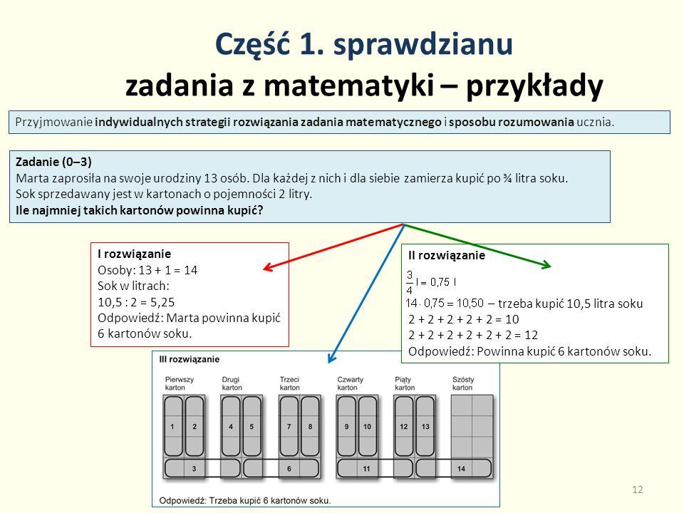 Część 1. sprawdzianu zadania z matematyki – przykłady