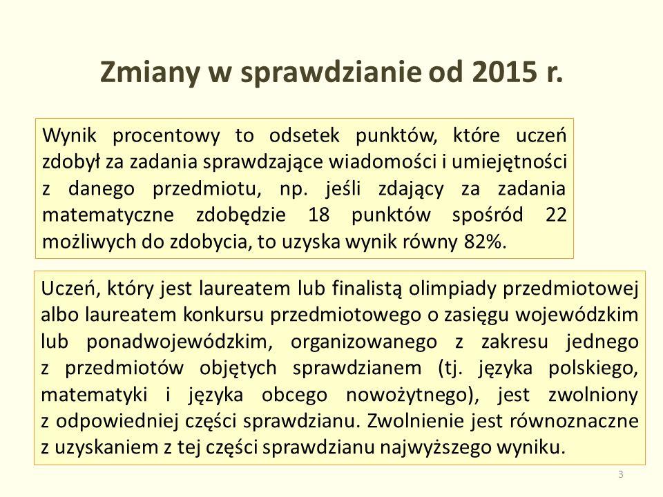 Zmiany w sprawdzianie od 2015 r.
