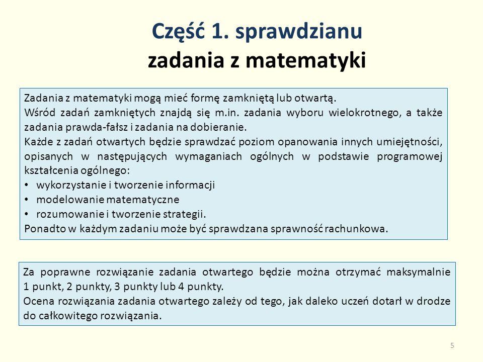 Część 1. sprawdzianu zadania z matematyki